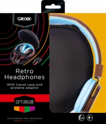 029 Grixx Optimum Headphone Retro with Microphone Brown Blue